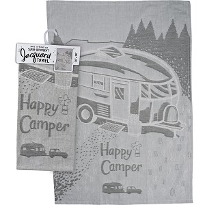 Happy Camper Jacquard Woven Cotton Dish Towel 20x28 from Primitives by Kathy