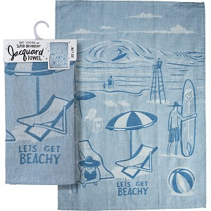 Let's Get Beachy Jacquard Woven Cotton Dish Towel 20x28 from Primitives by Kathy