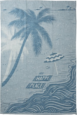 Beach Scene My Happy Place Cotton Dish Towel 20x28 from Primitives by Kathy