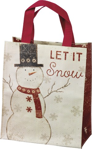 Snowman Themed Let It Snow Double Sided Daily Tote Bag from Primitives by Kathy