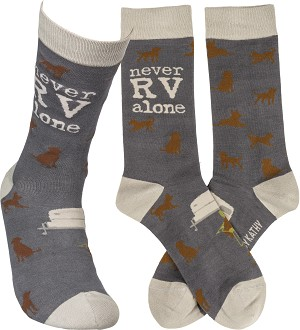 Dog Lover Never RV Alone Colorfully Printed Cotton Socks from Primitives by Kathy