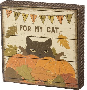 Cat Lover Grateful For My Cat Rustic Wooden Box Sign 4.5x4.5 from Primitives by Kathy