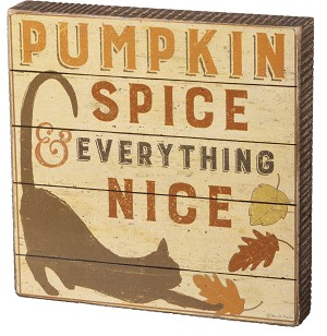 Cat Lover Pumpkin Spice & Everything Nice Decorative Wooden Box Sign 6x6 from Primitives by Kathy