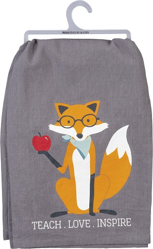 Fox Design Teach Love Inspire Cotton Dish Towel 28x28 from Primitives by Kathy