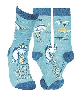 Kinda' Salty About Not Being A Mermaid Colorfully Printed Cotton Socks from Primitives by Kathy