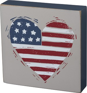 Patriotic USA Heart Decorative Wooden Box Sign 4x4 from Primitives by Kathy
