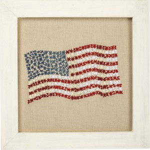 US Flag Framed Stitched Wall Art Décor Sign from Primitives by Kathy