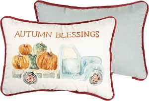 Pumpkin Truck Autumn Blessings Decorative Cotton & Velvet Throw Pillow 14x10 from Primitives by Kathy