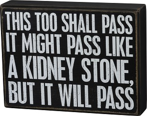 This Too Shall Pass Like A Kidney Stone Wooden Box Sign 8x6 from Primitives by Kathy