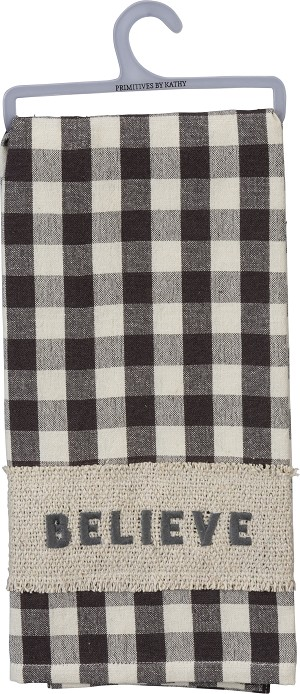 Farmhouse Style Checkered Background Print Believe Cotton Dish Towel 20x28 from Primitives by Kathy
