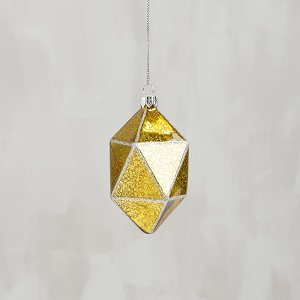 Faceted Sheer Gold Hanging Glass Christmas Ornament 4.5 Inch from Primitives by Kathy