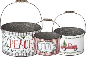 Set of 3 Holiday Themed Watercolor Artwork Buckets (Peace & Joy & Christmas Truck) from Primitives by Kathy