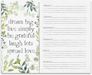 Botanical Themed Dream Big Weekly Paper Notepad Planner (60 Pages) from Primitives by Kathy
