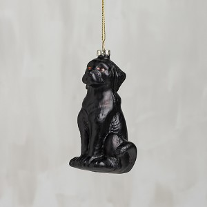Black Lab Hanging Glass Christmas Ornament from Primitives by Kathy