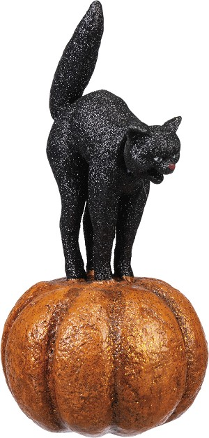 Black Cat On Pumpkin Figurine 4x8 from Primitives by Kathy