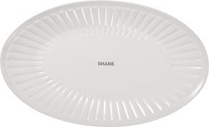 Stoneware Oval Ribbed Texture Share Decorative Platter Plate from Primitives by Kathy