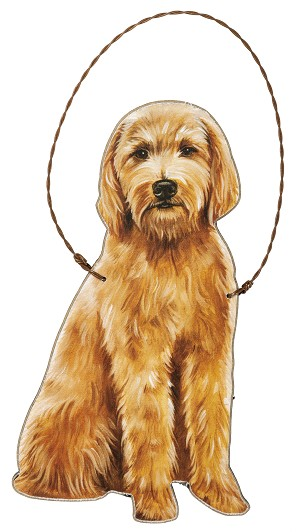 Goldendoodle Hanging Wooden Ornament 5.75 INch from Primitives by Kathy