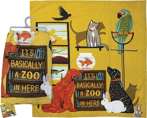 It's Basically A Zoo In Here Cotton Dish Towel 28x28 from Primitives by Kathy