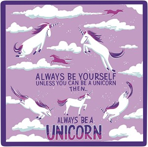 Set of 4 Always Be A Unicorn Ceramic Drink Coaster Set from Primitives by Kathy