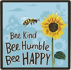 Set of 4 Bee Kind Bee Humble Bee Happy Ceramic Drink Coasters from Primitives by Kathy