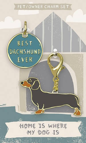 Best Dachshund Ever Dog Collar Charm & Matching Owner Keychain on Backer Card from Primitives by Kathy