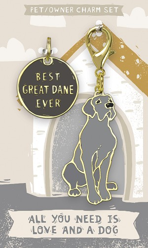 Best Great Dane Ever Dog Collar Charm & Matching Owner Keychain on Backer Card from Primitives by Kathy