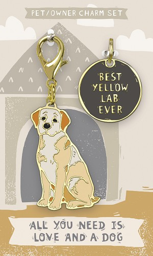 Best Yellow Lab Ever Dog Collar Charm & Matching Owner Keychain on Backer Card from Primitives by Kathy