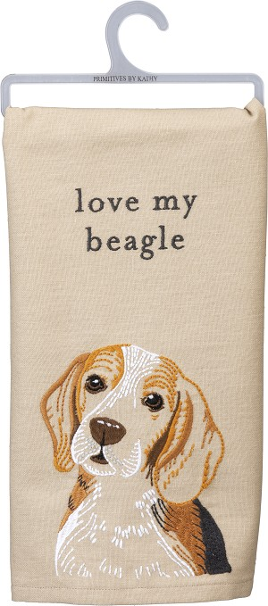 Love My Beagle Cotton Linen Blend Dish Towel 20x26 from Primitives by Kathy