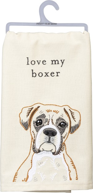 Love My Boxer Cotton Linen Blend Dish Towel 20x26 from Primitives by Kathy