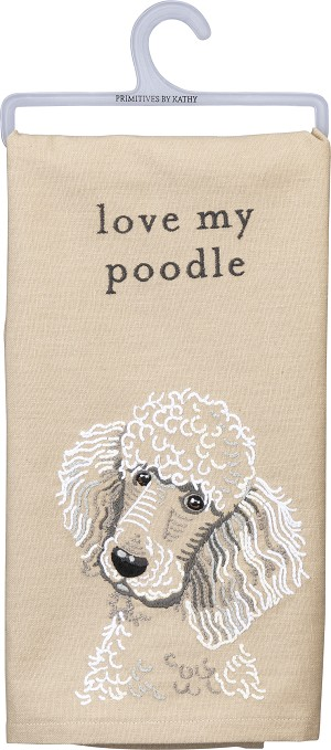 Love My Poodle Cotton & Linen Blend Dish Towel 20x26 from Primitives by Kathy