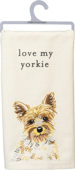 Love My Yorkie Cotton & Linen Blend Dish Towel 20x26 from Primitives by Kathy