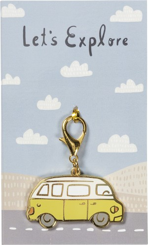Minivan Shaped Let's Explore Enamel Charm & Backer Card from Primitives by Kathy