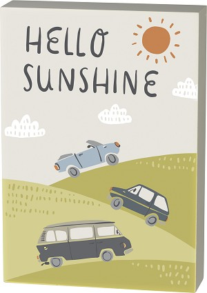 Hello Sunshine Decorative Wooden Box Sign 7x10 from Primitives by Kathy