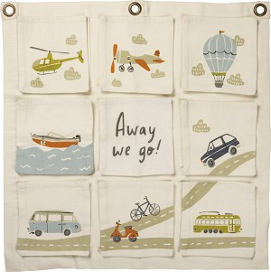 Away We Go Decorative Nursery Hanging Cotton Storage Bag from Primitives by Kathy
