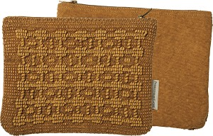 Stonewashed Textured Woven Cotton Design Zipper Pouch Travel Handbag from Primitives by Kathy