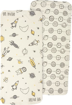 Set of 2 Galaxy Design Dream Big Cotton Baby Burp Cloths from Primitives by Kathy