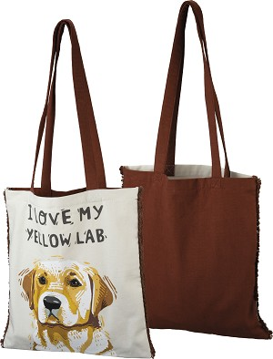 I Love My Yellow Lab Cotton Tote Bag from Primitives by Kathy