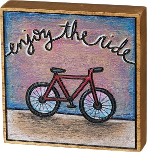 Bicycle Themed Enjoy The Ride Decorative Burned Wood Box Sign 4.5x4.5 from Primitives by Kathy
