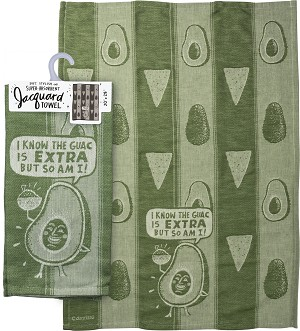 I Know The Guac Is Extra But So Am I Jacquard Woven Cotton Dish Towel 20x28 from Primitives by Kathy