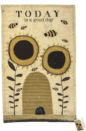 Bees & Sunflower Design Today Is A Good Day Cotton & Linen Dish Towel 18x28 from Primitives by Kathy