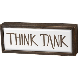 Think Tank Decorative Bathroom Wooden Box Sign 9.75x3.75 from Primitives by Kathy