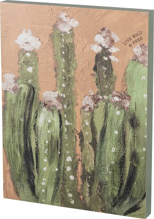 Cactus Design Live Wild & Free Decorative Wooden Box Sign 17x22.5 from Primitives by Kathy