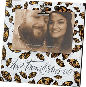 Love Transforms Us Butterfly Design Decorative Wooden Block Sign With Photo Holder Clip from Primitives by Kathy