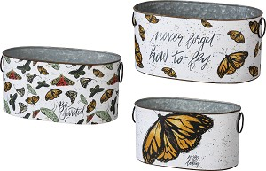 Set of 3 Decorative Tin Storage Bins Butterfly Themed (Never Forget How To Fly) from Primitives by Kathy
