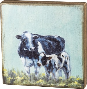 Cow And Calf Decorative Home Décor Wooden Box Sign 10x10 from Primitives by Kathy