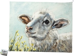 Sheep In Flower Field Cotton Dish Towel 20x26 from Primitives by Kathy