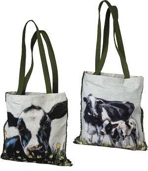 Cows In Flower Field Double Sided Cotton Tote Bag from Primitives by Kathy