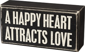 A Happy Heart Attracts Love Decorative Wooden Box Sign 6x3 from Primitives by Kathy