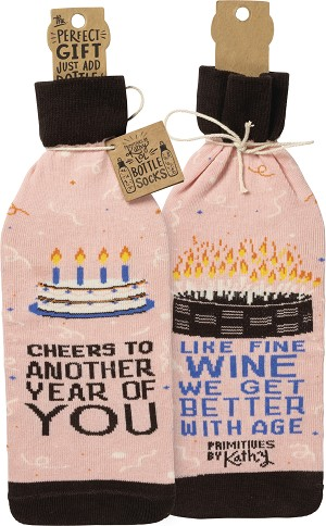 Happy Birthday Cheers To Another Year of You Wine Bottle Sock Holder from Primitives by Kathy