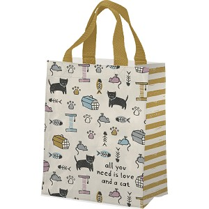 Cat Lover All You Need Is Love And A Cat Double Sided Daily Tote Bag from Primitives by Kathy